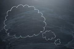 Nuvole vuote su una lavagna, concetti di un bordo per confusione, ispirazione e soluzioni immagini stock