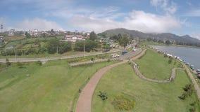 Nuwara eliya gregory lake copter shot stock footage
