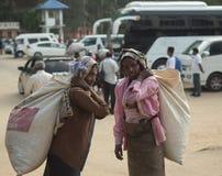NUWARA ELIYA, SRI LANKA - 14 de janeiro: Fêmea do retrato da mulher da máquina desbastadora do chá na estrada perto da fábrica do Fotos de Stock Royalty Free