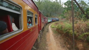 NUWARA ELIYA, SRI LANKA - EM MARÇO DE 2014: Vista do campo de Nuwara Eliya do trem movente O transporte railway cingalês filme