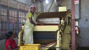 NUWARA ELIYA, SRI LANKA - MÄRZ 2014: Ansicht von den Frauen eines zwei Einheimischen, die an einer Maschine in der Teefabrik in N stock video footage