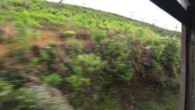 NUWARA ELIYA, SRI LANKA - MÄRZ 2014: Die Ansicht von Landschaft Nuwara Eliya von einem beweglichen Zug Die Schienentransporte MI  stock video