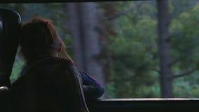 NUWARA ELIYA, SRI LANKA - MÄRZ 2014: Frau, die heraus das Fenster nebeliger Landschaft vom beweglichen Zug betrachtet Das railwa  stock video footage