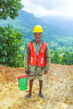 Roadworks workman near Nuwara Eliya, Sri Lanka Royalty Free Stock Image