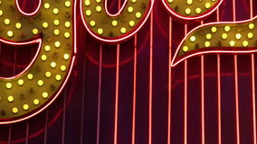 NV. A looping close up of chasing lights and neon tubes in Las Vegas stock video