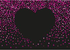 Valentine background with pink glitter hearts. February 14th day. Vector confetti for valentine background template. NValentines day border with red glitter Royalty Free Stock Photos