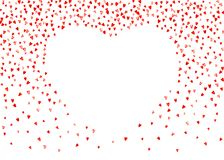 Valentine background with pink glitter hearts. February 14th day. Vector confetti for valentine background template. NValentines day border with red glitter Stock Images