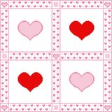 Embroidery background with hearts for Valentine`s Day greetings in Pixel-Art style stock illustration