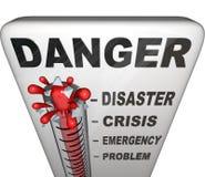 Níveis de medição do termômetro do perigo de emergência Foto de Stock