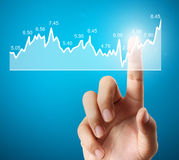 Nvestment concept with financial chart symbols coming from hand. Nvestment concept with financial chart symbols coming from a hand Royalty Free Stock Images