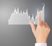 Nvestment concept with financial chart symbols coming from hand. Nvestment concept with financial chart symbols coming from a hand Stock Images