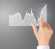 Nvestment concept with financial chart symbols coming from hand Royalty Free Stock Photography