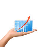 Nvestment concept with financial chart symbols coming from hand. Nvestment concept with financial chart symbols coming from a hand Royalty Free Stock Photography