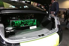 NVIDIA Drive installation in trunk at CES 2019 stock photos