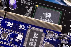 NVIDIA GeForce芯片和电路板PCB 库存图片