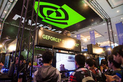 Nvidia in Indo Game Show 2013. Jakarta, Indonesia, 8th September 2013: Visitors experiencing latest GPU technologies from Nvidia in Indo Game Show 2013 event in Stock Photography