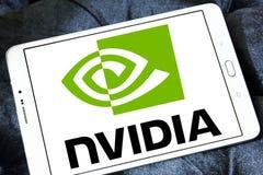 Nvidia logo. Logo of technology company nvidia on samsung tablet stock images