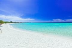 Inviting view of tropical white sand beach and tranquil turquoise ocean on blue sky background at Cayo Coco Cuban island Royalty Free Stock Photo