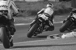 NW 200 Magheraboy Chichane. Black and White Image as Riders race through the Magheraboy Chicane Portrush at the 2015 NW 200 Royalty Free Stock Photography