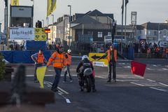 NW 200 Metropole Corner Race Red Flagged. NW 200 Road Racing. Taken on 20/5/16 at NW 200 Metropole Corner Portrush. Race has been red flagged due to crash at Royalty Free Stock Image