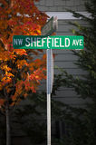 NW Sheffield Avenue. Street Sign: NW Sheffield Avenue and Amberwood Royalty Free Stock Photography