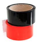 Nwo rolls of color tape. Red and black Royalty Free Stock Photo