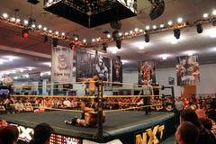 NXT-de tegenstander van de sprongschoppen van Worstelingshideo itami in ring stock afbeeldingen