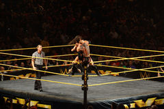 NXT male wrestler Finn Balor fights with Adrian Neville on ring. SAN JOSE - MARCH 27: NXT male wrestler Finn Balor fights with Adrian Neville on ring ropes Stock Photos