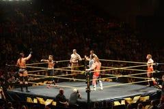 NXT-Tag Team Champions Blake und Murphy mit den Vaudevillians a Lizenzfreie Stockfotos