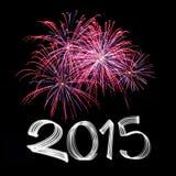 Nyårsafton 2015 med fyrverkerier Fotografering för Bildbyråer