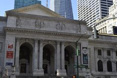 NY公立图书馆façade 免版税图库摄影