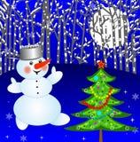 Ny-år träd och snöman Fotografering för Bildbyråer