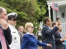 候选人希拉里・克林顿和NY州长安德鲁・库默 库存照片