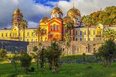 NY AFON, ABCHAZIEN - OKTOBER 21, 2014: Nya Athos Monastery Fotografering för Bildbyråer