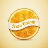 Ny apelsin med bandet Arkivbilder