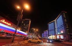Ny Arbat gata i Moskva vid natt Fotografering för Bildbyråer