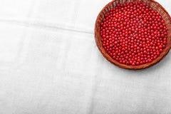Ny artistisk vinbär i en träkorg Röda bär på en grå bakgrund Färgrik röd vinbär Strikt vegetarianmat Arkivbild