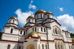 Ny Athos kloster av St Simon den Canaanite kloster i solskenet Nya Athos, Abchazien Arkivbilder