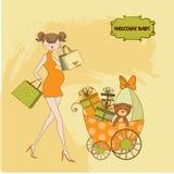 Ny baby showerinbjudan med gravid förväntansfullt Royaltyfri Foto