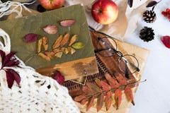 Ny bakelsebulle, kopp av varmt kaffe och höstsidor på träbakgrund Träbokstavsord HÖST Bästa sikt, kopia Royaltyfri Bild