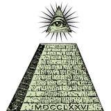 ny beställningsvärld En dollar, pyramid Illuminati symbolräkning, frimurar- tecken, all seende ögonvektor royaltyfri illustrationer