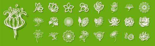 Ny blommasymbolsuppsättning, enkel stil royaltyfri illustrationer