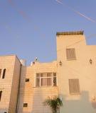 Ny bostads- två-berättelse byggnad, blå himmel och palmträdbarn Fotografering för Bildbyråer
