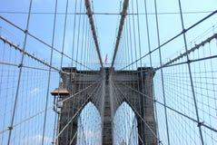 NY Bridge. A few of the cables of the Brooklyn Bridge, New York Stock Photo
