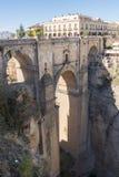 Ny bro över den Guadalevin floden i Ronda, Malaga, Spanien Popula Fotografering för Bildbyråer
