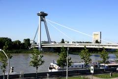 Ny bro i Bratislava (Slovakien) Arkivbilder