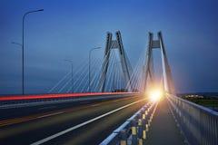 Ny bro i Cracowen i morgonen Arkivbild