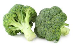 Ny broccoli som isoleras på vit bakgrund, inklusive den snabba banan utan skugga Fotografering för Bildbyråer