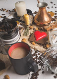 Ny bryggad dag för kaffevalentin` s Royaltyfri Fotografi
