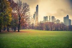 NY Central Park på den regniga dagen Royaltyfri Foto